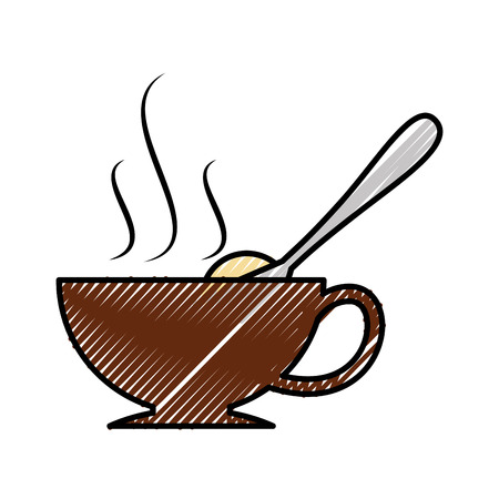 coffee cup with sugar spoon vector illustration design