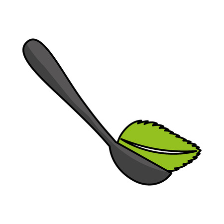 spoon with tea leaf product icon vector illustration design Illustration