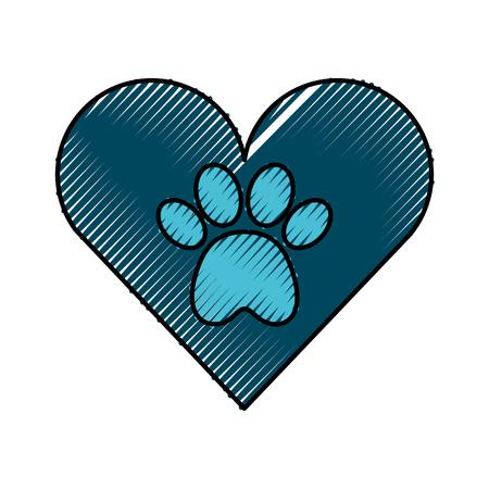 Coeur avec empreinte de patte mascotte icône isolée design d'illustration vectorielle Banque d'images - 81847643