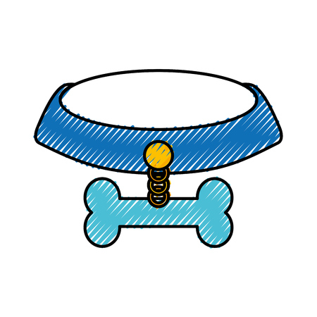 pet collar with bone icon vector illustration design Illustration