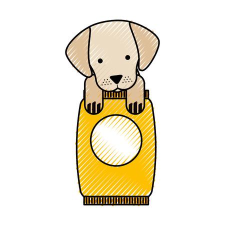 cute dog mascot with bag food vector illustration design