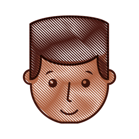 young man black head avatar character vector illustration design Illustration