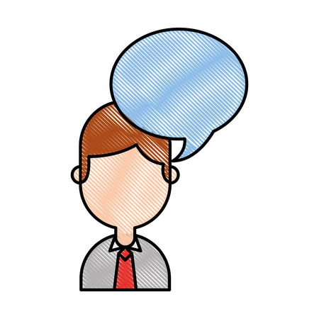 businessman with speech bubble avatar character icon vector illustration design