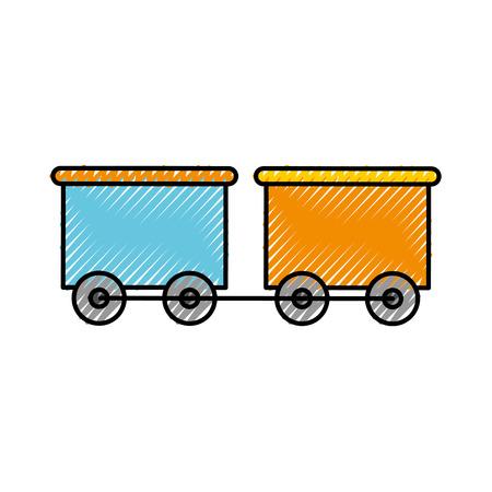 Trein wagen speelgoed geïsoleerde pictogram vector illustratie ontwerp