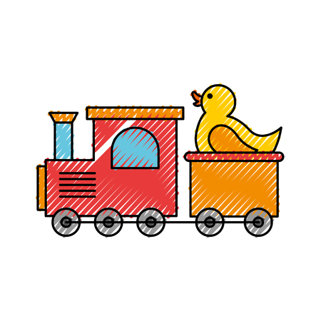 train toy with duck vector illustration design icon Illustration