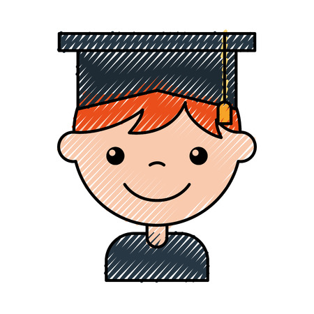 egresado: A cute boy graduated icon vector illustration design.