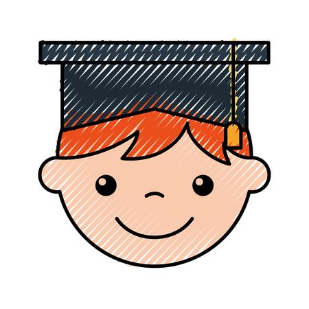 かわいい男の子卒業アイコン ベクトル イラスト デザイン