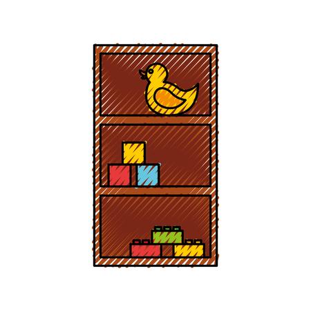 Houten lade met speelgoed vector illustratie ontwerp Stockfoto - 81974213