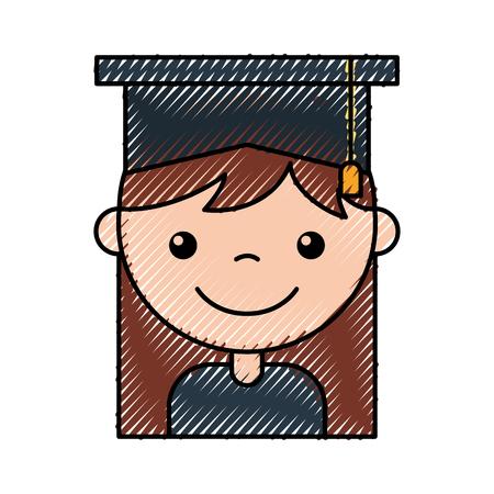 cute girl graduated icon vector illustration design icon