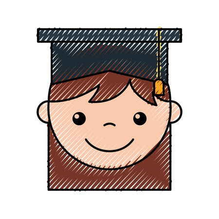 egresado: A cute girl graduated icon vector illustration design icon. Vectores