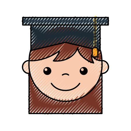 A cute girl graduated icon vector illustration design icon. Illustration