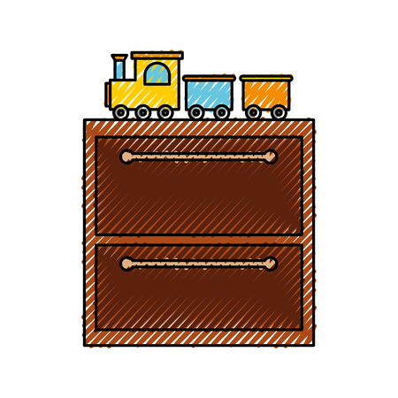 A wooden drawer with toys vector illustration design.