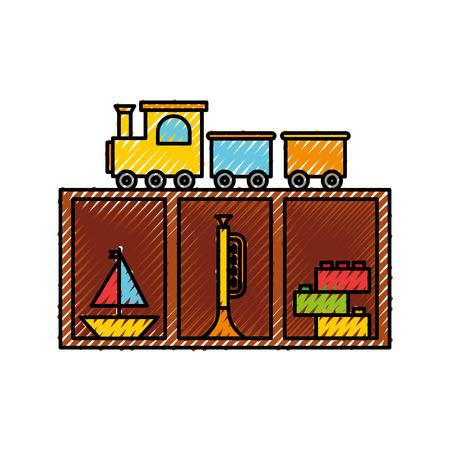 Houten lade met speelgoed vector illustratie ontwerp