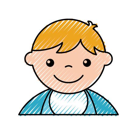 cute boy baby avatar character vector illustration design icon