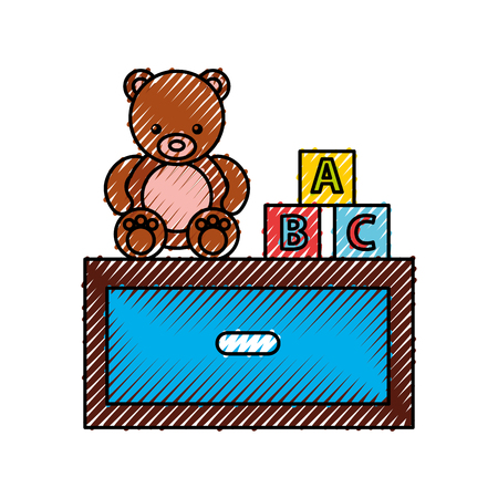 wooden drawer with toys vector illustration design