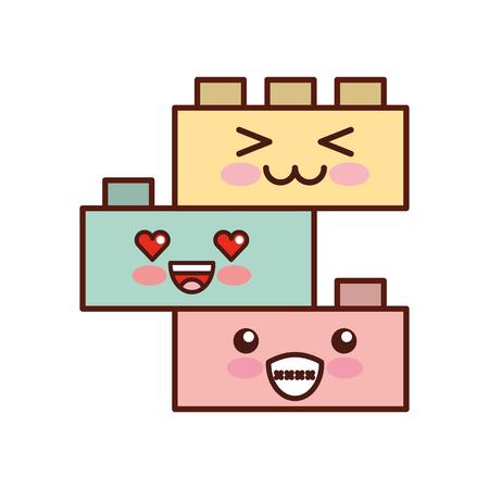 speelgoed blokken structuur kawaii karakter vector illustratie ontwerp Stock Illustratie