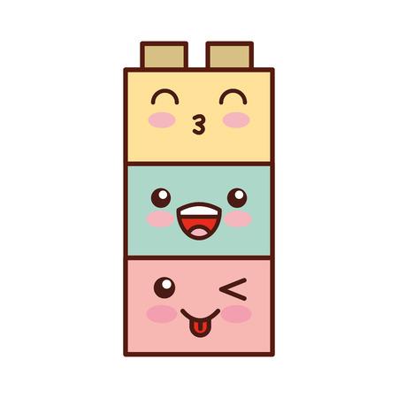 Speelgoed blokken structuur kawaii karakter vector illustratie ontwerp