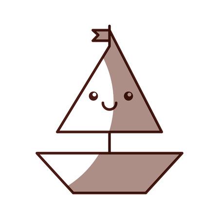 sail boat kawaii character vector illustration design icon