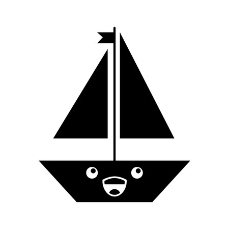 sail boat kawaii character vector illustration design icon