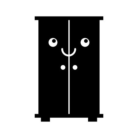 Houten kast kawaii karakter vector illustratie ontwerp Stockfoto - 81849562