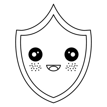 security shield kawaii character vector illustration design