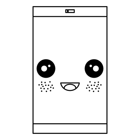 responsive: smartphone device kawaii character vector illustration design