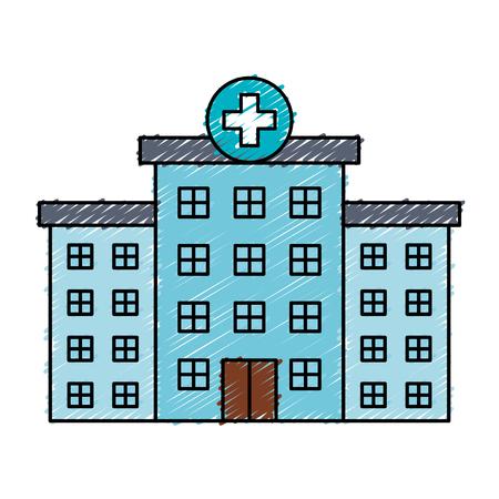 Bâtiment d & # 39 ; hôpital isolé icône du design illustration vectorielle Banque d'images - 82003045