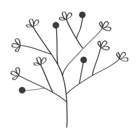 Leafy branch natural icon vector illustration design