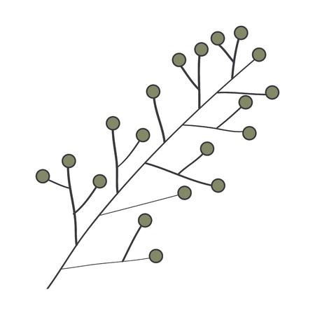잎이 많은 지점 자연 아이콘 벡터 일러스트 디자인