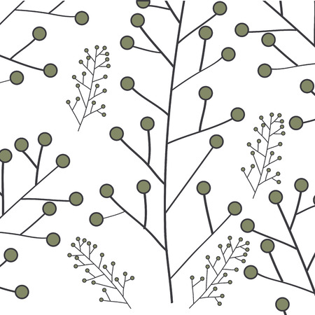 Leafy branch natural pattern vector illustration design