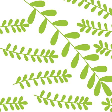 Leafy branch natural pattern vector illustration design
