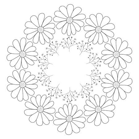 Circulaire kroon met bloemen vector illustratie ontwerp Stockfoto - 82006310