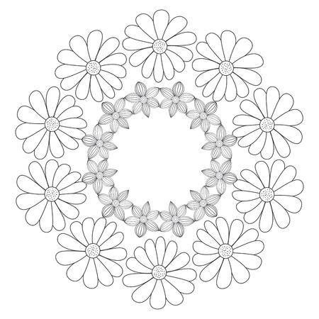 꽃 벡터 일러스트 디자인으로 원형 왕관