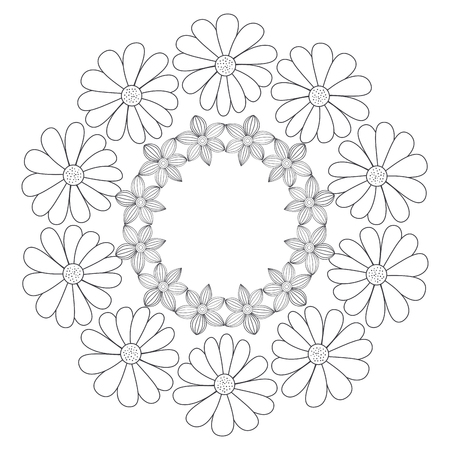 Circular crown with flowers vector illustration design