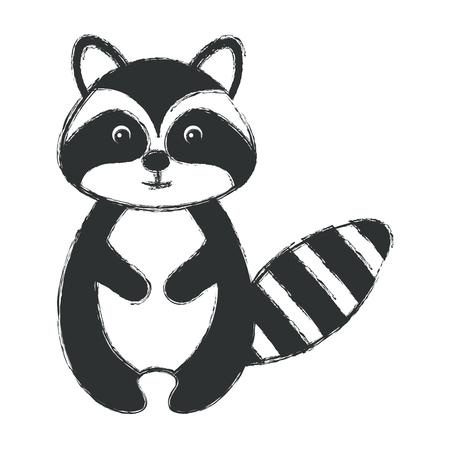 cute and tender raccoon vector illustration design Illustration