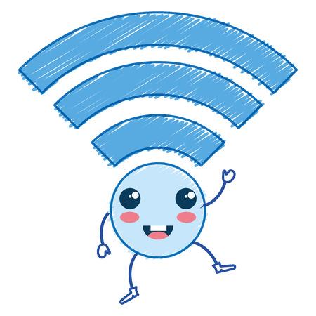 A wifi signal kawaii character vector illustration design.