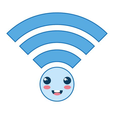 wifi signal kawaii character vector illustration design