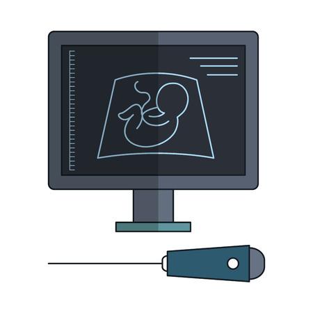 Monitor de ultrasonido aislado icono de ilustración vectorial de diseño Foto de archivo - 82028049