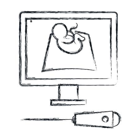 Ultrasound monitor isolated icon vector illustration design Иллюстрация
