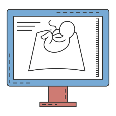 Monitor de ultrasonido icono aislado diseño de ilustración vectorial Foto de archivo - 82028644