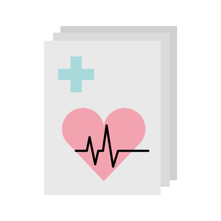 medical order with cardiology test document icon vector illustration design Ilustrace