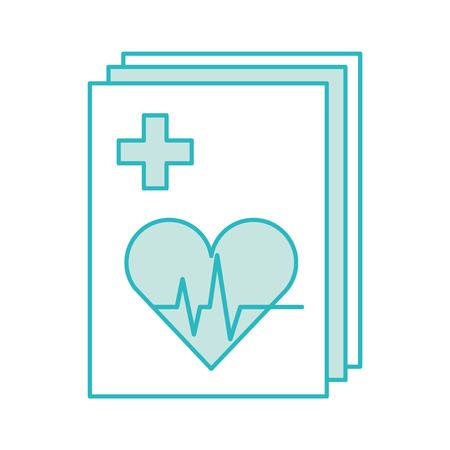 Medische orde met cardiologie testdocument pictogram vector illustratie ontwerp Stockfoto - 82028666