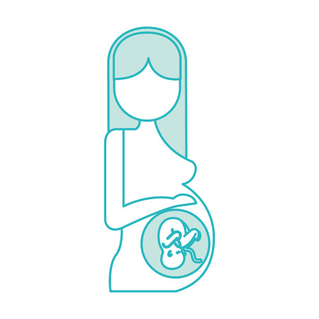 Pregnant woman with her fetus vector illustration design Фото со стока - 82028723