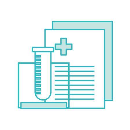 compensation: tube test with medical order document icon vector illustration design