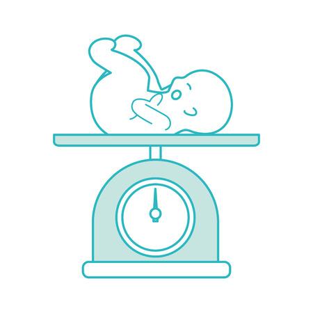 分離された赤ちゃんアイコン ベクトル イラスト デザインをスケールします。  イラスト・ベクター素材