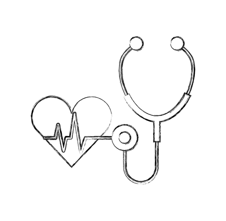 stethoscope medical with heart vector illustration design