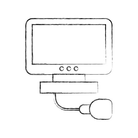 Ultrasound monitor isolated icon vector illustration design Çizim