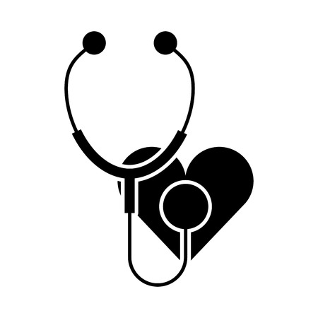 phonendoscope: stethoscope medical with heart vector illustration design