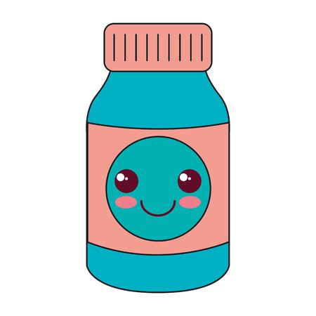 bottle drugs character vector illustration design