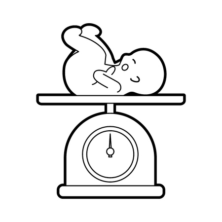 scale with baby isolated icon vector illustration design Stock Vector - 82032276